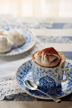 Cappuccino Time - cafes coffee aroma ... hot chocolate, food, drink, white, coffee cups, blues, teacup, whipped cream, china