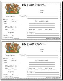 Free Printable Preschool Progress Reports | Printable Preschool Daily ...