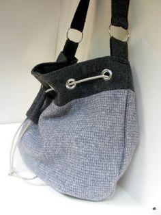 Gray Wool Drawstring  Shoulder/Messenger Bag by bluepiedesigns, $49.00