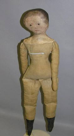 """PRIMITIVE OIL PAINTED CLOTH DOLL, 31"""". Gusseted he : Lot 114"""