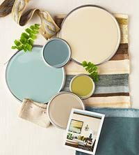 """Interior color schemes by BHG - """"Spring Renewal.""""    [Colors (all Sherwin Williams) from the top:      Ivoire SW6127;   Underseas SW6214;   Hazel SW6471;   Antiquity SW6402;    Macadamia SW6142."""