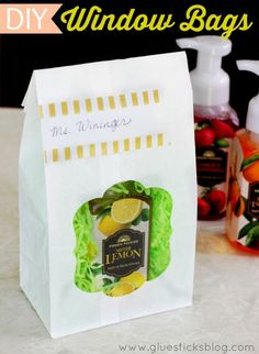 DIY Window Bags, make with inexpensive paper sacks! Fill with treats and gifts.
