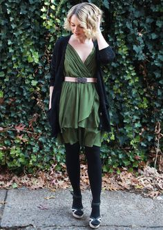 Poor Little It Girl - Scissortail Clothing Green Party Dress, Michael Stars Black Cardigan, BCBGMAZAZRIA belt, Express Black Opaque Tights a...
