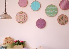 Embroidery hoops with fabric