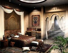Bedroom - Moroccan style, drapery, natural lighting, bedding, earth tones