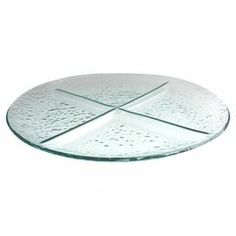 """4-section glass server with seeded detail.   Product: ServerConstruction Material: GlassColor: ClearDimensions: 1.5"""" H x 17.5"""" DiameterCleaning and Care: Hand wash"""