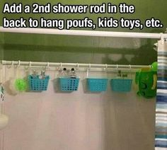 Love this idea for bathroom organization - a second shower rod gives you space to hang assorted bathtub and shower accessories.