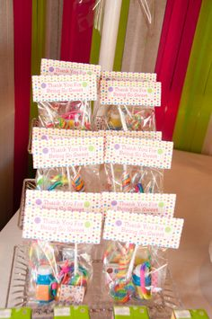Party favors at a Candy Land, Rainbow,  Cupcake & Art Party.  DIY birthday party favor, decoration, theme & gift ideas for kids.