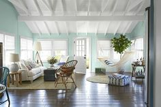 Love the ceiling...incorporate into the living room.  Also, pull out that old trunk and use it for a table!  Beach cottage decor ..country living mag via decor pad