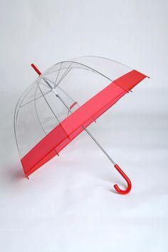 Clear Bubble Umbrella - Red