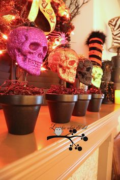 How To Make these Skeleton Head Topiaries.