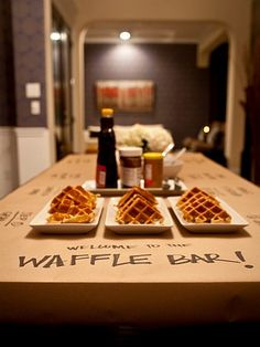 bar tables, waffle bar, waffl bar, kraft paper, waffles, ice cream bars, brunch, food bars, parti