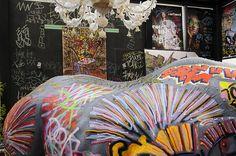 Décoration Street Art lors de l'exposition de Skunk Dog au New Hotel