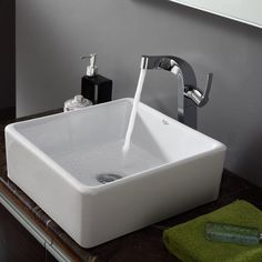 """We bought two of these sinks to replace bowl sinks and I love the way they look. Nice clean lines and easy to maintain."" -Home Depot customer MariaM bath idea, faucet, kraus vessel, bathroom combo, kraus bathroom, bathroom finalist, boy bathroom, master baths, vessel sink"