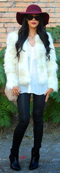 White And Camel Faux Fur Jacket