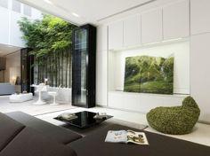indoor bamboo terrac, living rooms, modern interior design, open space, hous, bean bags, courtyard, modern interiors, singapore