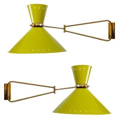 Pair of French Articulated Wall Lights By Rene Mathieu France c 1960 Pair of articulated wallights with brass arms and lacquered metal shades designed by Rene Mathieu and produced by Lunel.