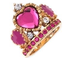 Crown With Hearts Ring by Betsey Johnson @}-,-;--