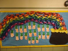 The students in this classroom made a colorful paper chain rainbow for this St. Patrick's Day bulletin board display.  The leprechauns were created using the students' hand prints.