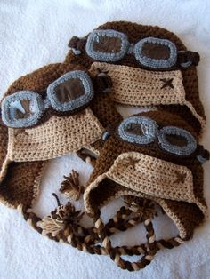 crochet aviator hats, ok these are adorable!