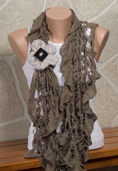 BROWN Ruffles Scarf Loop scarf Winter scarf by ozlemdesign on Etsy, $21.90