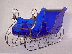 """LOVE!   Large Christmas Sleigh   Delphi Stained Glass  14.5"""" long x 6.5"""" wide. 10 gauge wire for runners."""