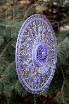 Garden Art Sun Catcher Glass Plate Flower Garden by GlassBlooms