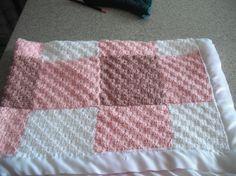Diagonal Crochet Squares Gingham Blanket