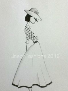 Fashion Art Illustration 1950s Country Cowgirl by LinearFashions, $32.00