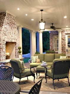 Outdoor patio fireplace; great brick color