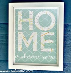 "Gift for a Military Family: Use maps from the different places the family has lived and use as underlays for the word ""HOME"". ""Home is wherever we are"". - Suburble.com"