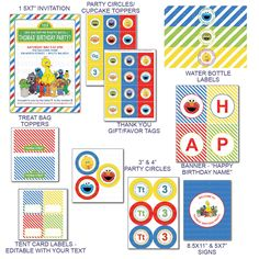 DIY -  Printable: Customized Sesame Street Party Set -  12 items. $20.00, via Etsy.