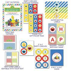 DIY -  Printable: Customized Sesame Street Party Set -  12 items. $20.00, via Etsy.