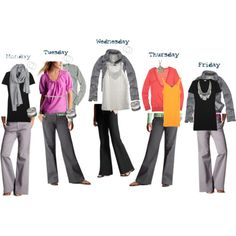 Love it!  outfits for the week with only 3 different pairs of pants.