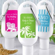 Personalized Sunscreen with Carabiner by Beau-coup - very needed when having a beach wedding
