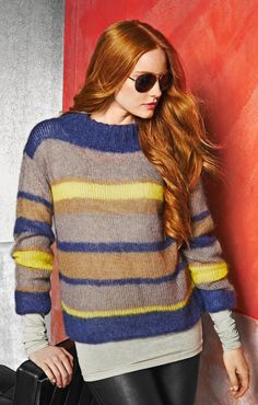 LANA GROSSA: Lace No. 3 Model 19: Streifenpulli mit doppeltem Rippenstehkragen (Silkhair Lux) Pullover #newclothes #topmode #Pullover #anoukblokker #newstyle #womenwinter    www.2dayslook.com