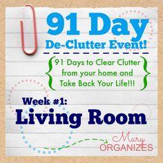 91 Day De-Clutter Week 1 -- Living Room