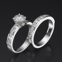 Swarovski Engagement Ring Set (Enchantment Premier) | 14K White Gold Round Cut Center Swarovski Crystal of 2 CT