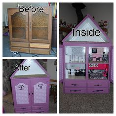 DIY Barbie House Convert a cupboard into a Barbie house. You can put your Barbie dolls and Barbie accessories in the drawers below.