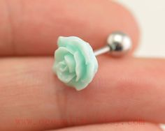 Tragus Earring Jewelryflower barbell piercing by OceanTime on Etsy, $4.99