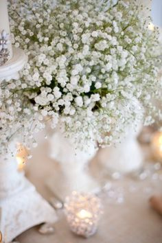 I'm 98% sure I just want to do baby's breath for centerpieces at the reception....what do you think @Tina Doshi Campbell ??