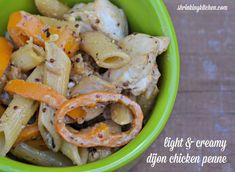 This quick and delish Light  Creamy Dijon Chicken Penne is the perfect dish for weeknight entertaining! shrinkingkitchen.com #healthy #chicken #pasta #recipe