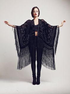 Velvet Fringe Kimono - The Black Rose