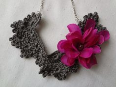 crocheted lace necklace with fabric flowers {inspiration}