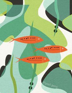 aquarium mid century design art print par poolponydesign sur Etsy, $35.00 graphic, midcenturi, art prints, aquarium