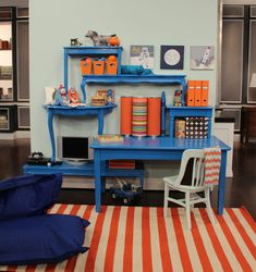 Cute desk/shelves made out of tables...good for crafting area?