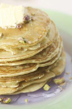 Cardamom Pancakes with Orange Blossom Syrup & Pistachios