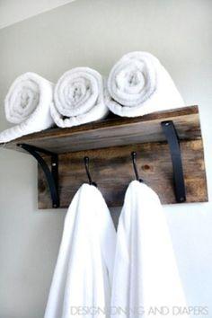 Wooden Towel Organizer - 40 Rustic Home Decor Ideas You Can Build Yourself towel racks, diy crafts, rustic homes, wooden towel, 40 rustic, bathroom, wood crafts, craft ideas, decor idea