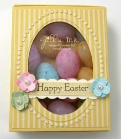 scrapbook cards, frame, matchbox die, boxes, stampin, easter eggs, jelly beans, easter treats, baby showers