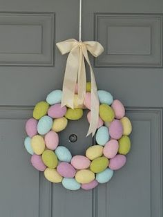 Easter Egg Wreath. love the muted colors